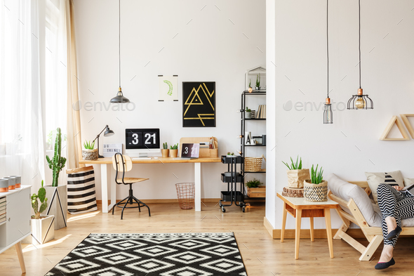 Geometric carpet in home office - Stock Photo - Images