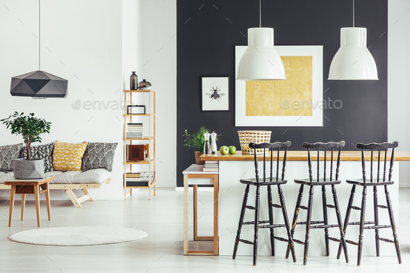 Spacious interior in rustic style - Stock Photo - Images