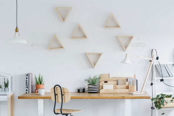 Scandi interior with triangle shelves - Stock Photo - Images