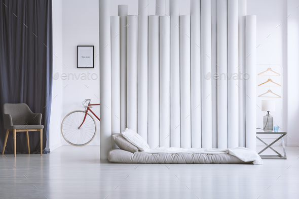 Gray and white bedroom - Stock Photo - Images