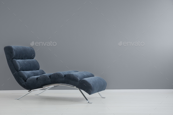 Navy blue chaise lounge - Stock Photo - Images