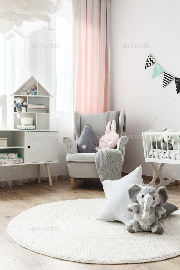 White carpet in baby's room - Stock Photo - Images