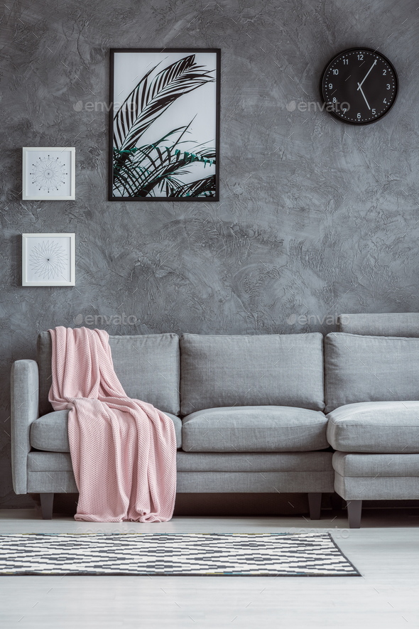 Concrete textured wall, gray couch - Stock Photo - Images