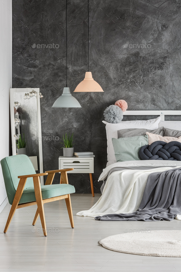 Gray wall in room - Stock Photo - Images