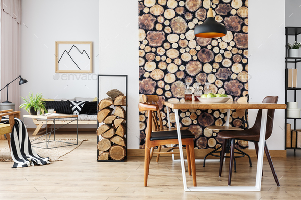 Rustic apartment with table - Stock Photo - Images