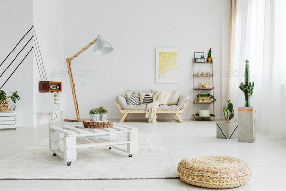 Table on wheels in living room - Stock Photo - Images