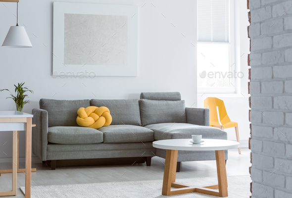 Living room with brick wall - Stock Photo - Images