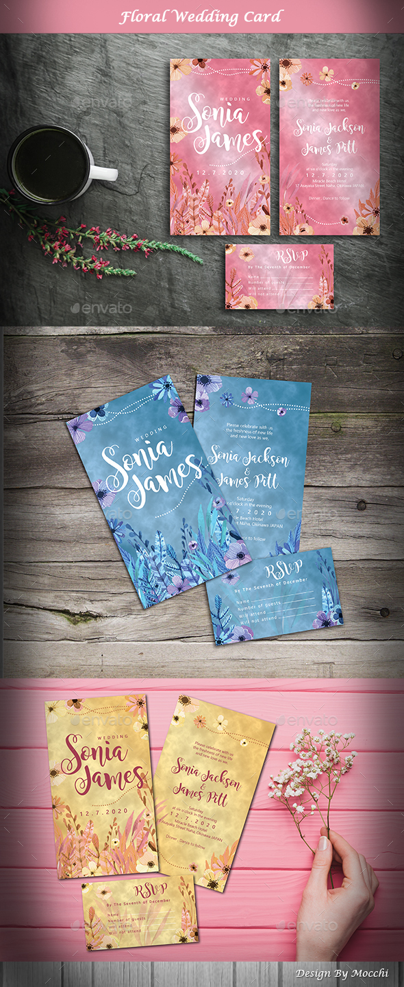 GraphicRiver Floral Wedding Card 2 21148216