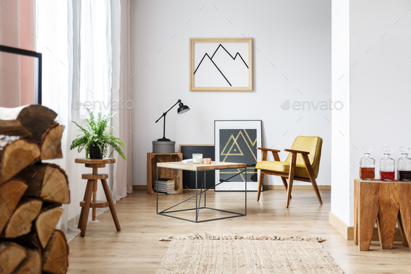 Modern living room with armchair - Stock Photo - Images