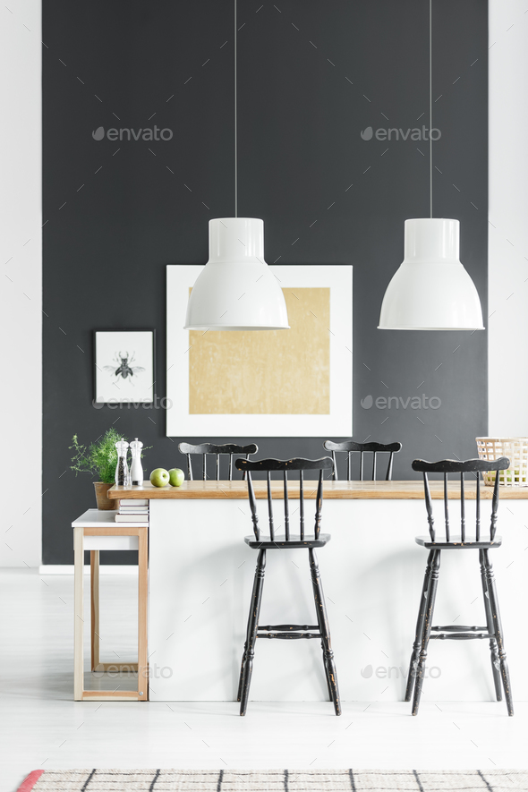 Kitchenette with rustic bar stools - Stock Photo - Images
