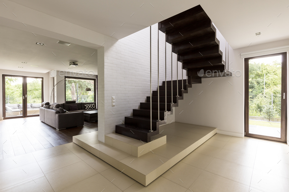 Staircase in the living room - Stock Photo - Images
