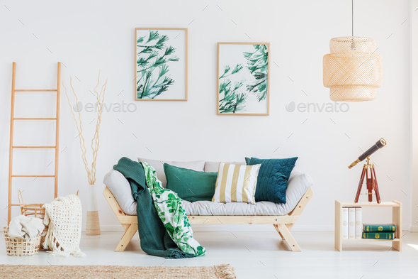 Room with dark green accents - Stock Photo - Images