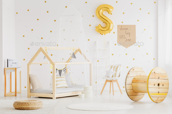 Wooden decor in kid's bedroom - Stock Photo - Images
