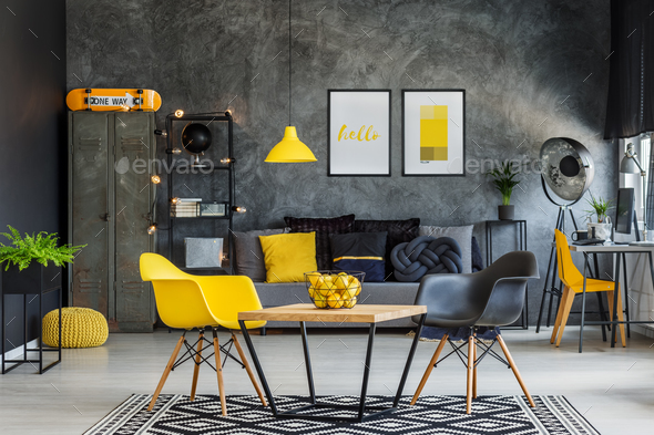 Yellow and gray industrial office - Stock Photo - Images