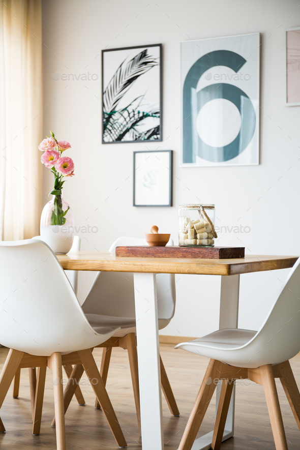 Table and chairs in a room - Stock Photo - Images