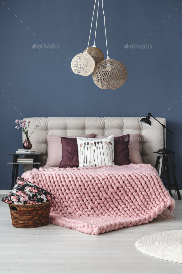 Pastel bedroom with designed lamp - Stock Photo - Images