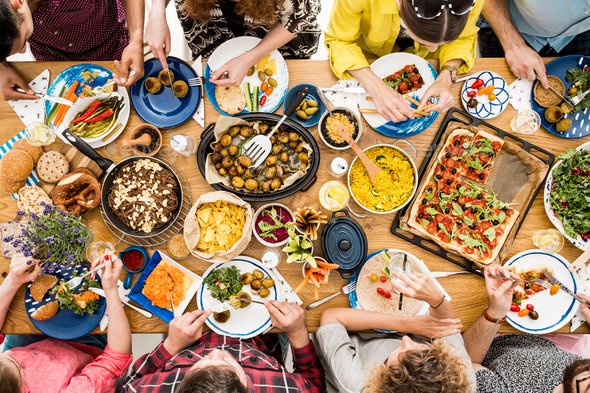 Veggie meeting of friends - Stock Photo - Images