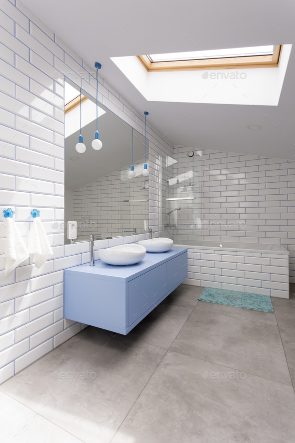 Bathroom with white brick wall - Stock Photo - Images