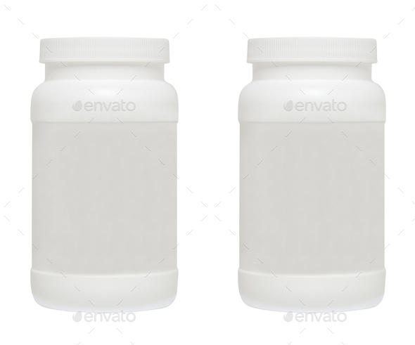 White medical containers on white background - Stock Photo - Images