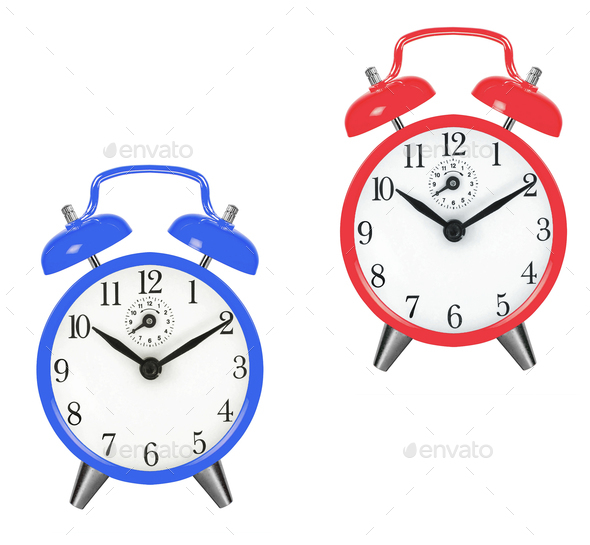 Old fashioned alarm clocks - Stock Photo - Images