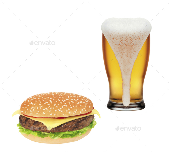 Hamburger and Mug of beer isolated - Stock Photo - Images