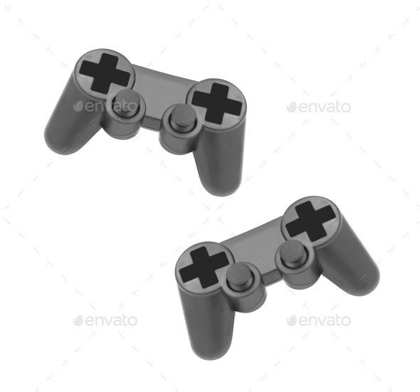 gamepads on white background isolated - Stock Photo - Images