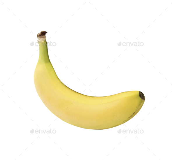 Single banana isolated on white - Stock Photo - Images