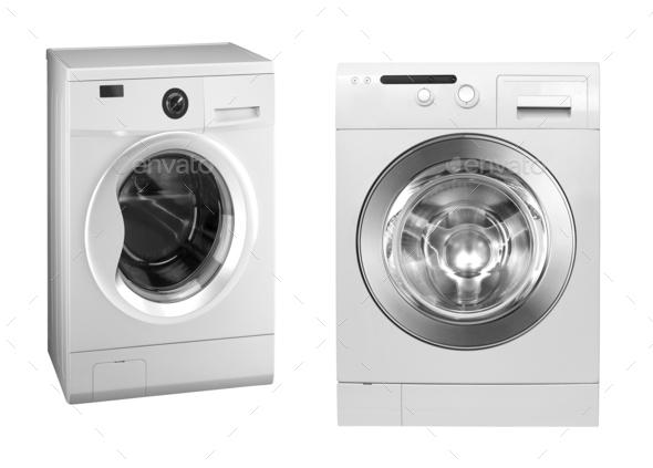 washing machines isolated on white - Stock Photo - Images