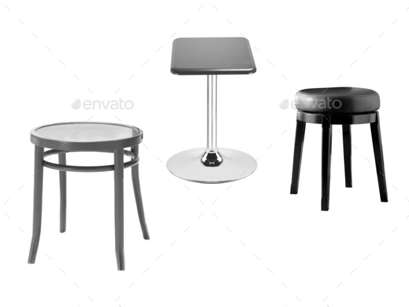 stools on a white background - Stock Photo - Images