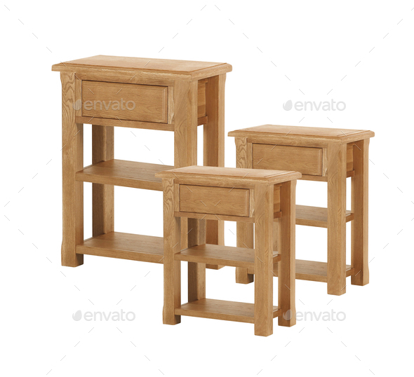 Old wooden table or stool isolated - Stock Photo - Images