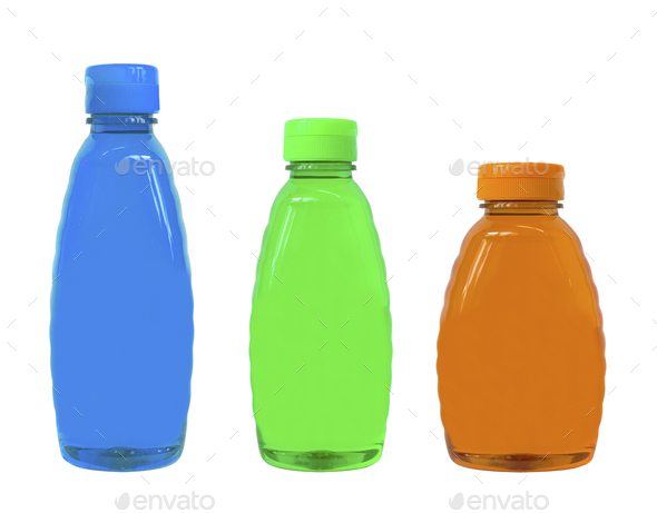 plastic bottles of body care and beauty products - Stock Photo - Images