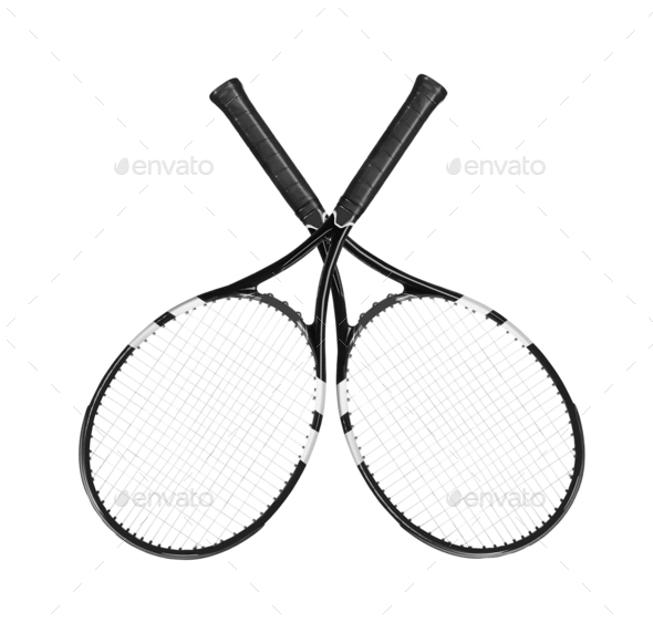 Tennis rockets isolated on white - Stock Photo - Images