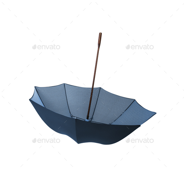 Blue umbrella isolated - Stock Photo - Images