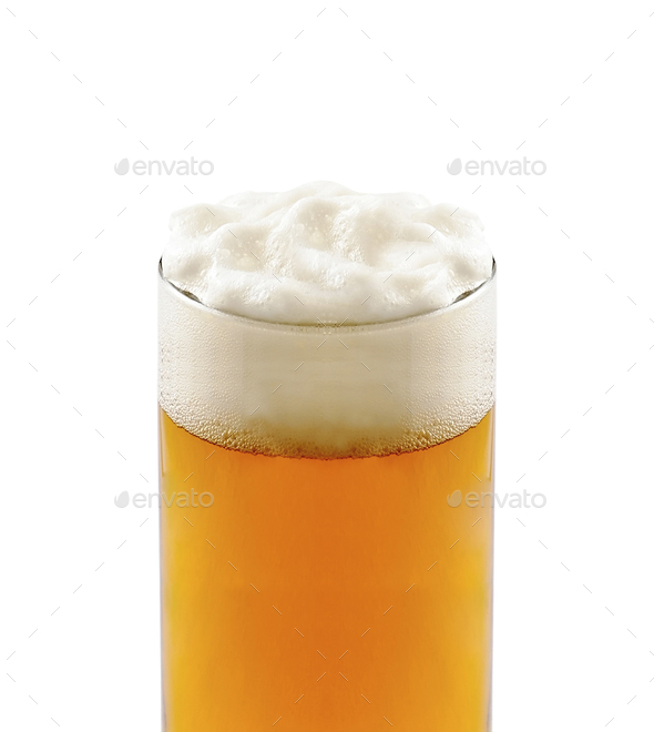 Frosty glass of light beer isolated - Stock Photo - Images