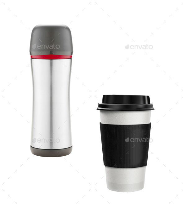 Coffee Cup and thermos isolated - Stock Photo - Images