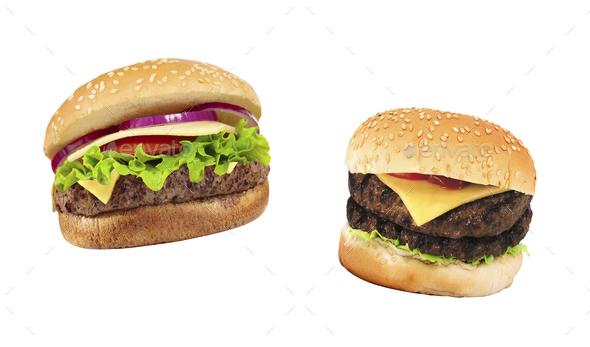 two nice hamburgers on white background - Stock Photo - Images