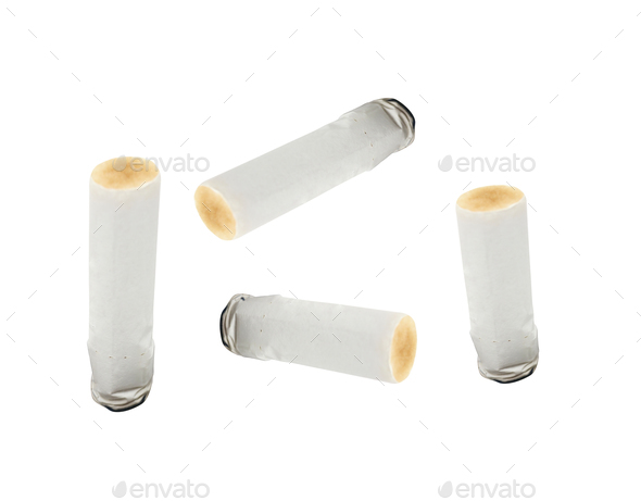 consumed cigarettes in white - Stock Photo - Images