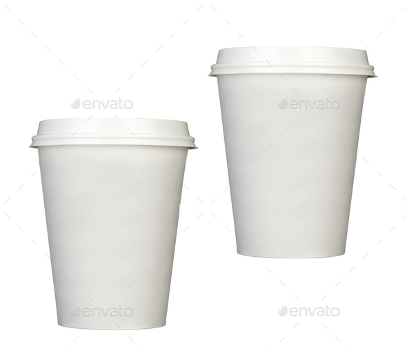 Paper coffee cups isolated - Stock Photo - Images