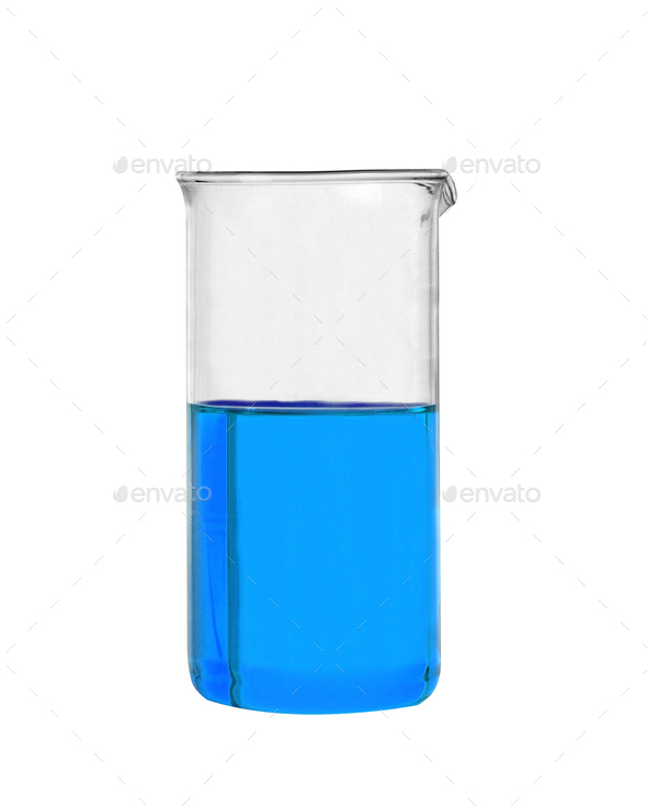 Chemical laboratory flask with blue liquid isolated - Stock Photo - Images