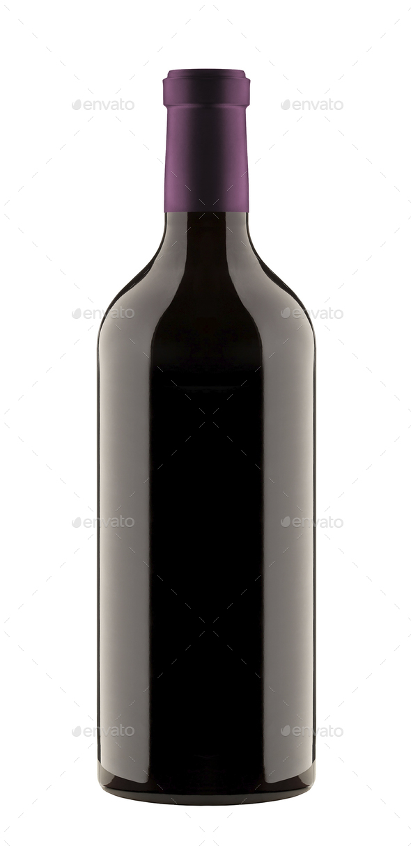 red wine a bottle isolated - Stock Photo - Images
