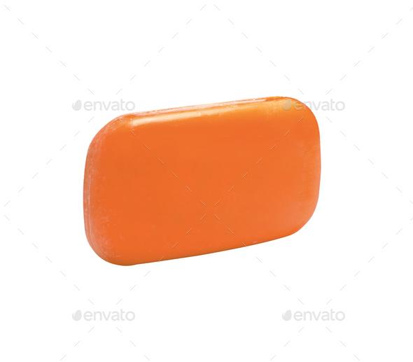 Orange soap isolated on white background - Stock Photo - Images