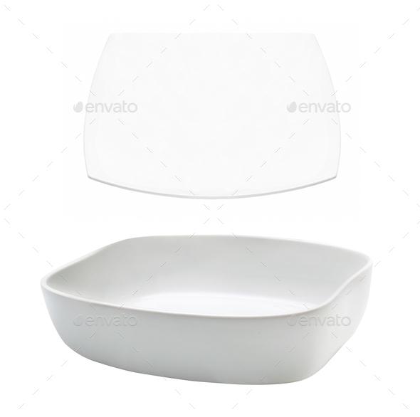 White plates on white - Stock Photo - Images