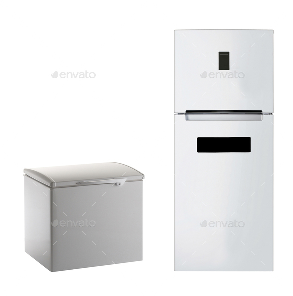 Modern steel refrigerator isolated - Stock Photo - Images