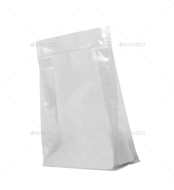 White Mock Up Blank Foil Food Bag isolated - Stock Photo - Images