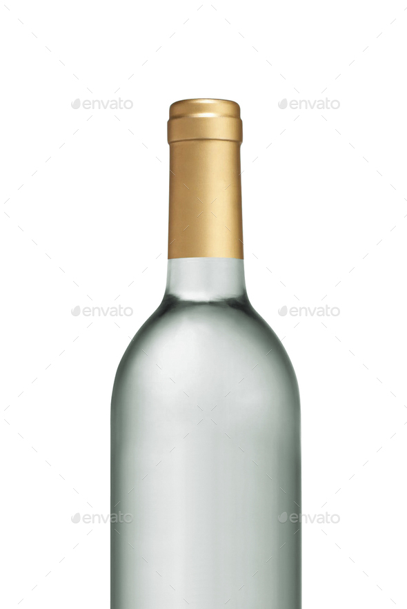 Glass Transparent wine bottle isolated - Stock Photo - Images
