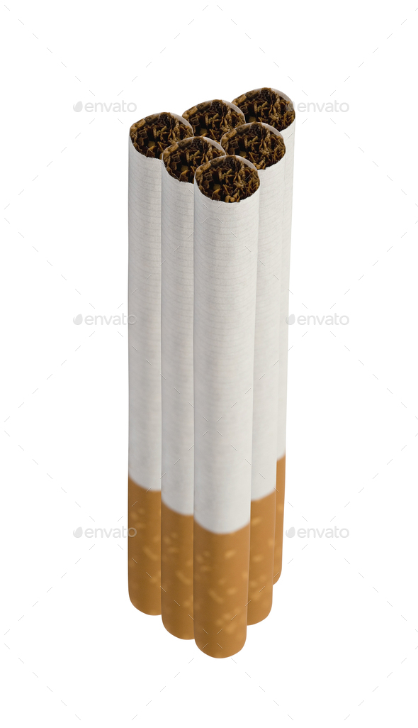 Close-up of Tobacco Cigarettes isolated on white background - Stock Photo - Images