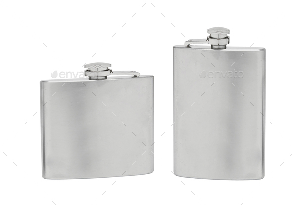 Stainless hip flask isolated - Stock Photo - Images