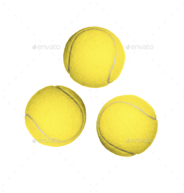 Three tennis balls isolated - Stock Photo - Images