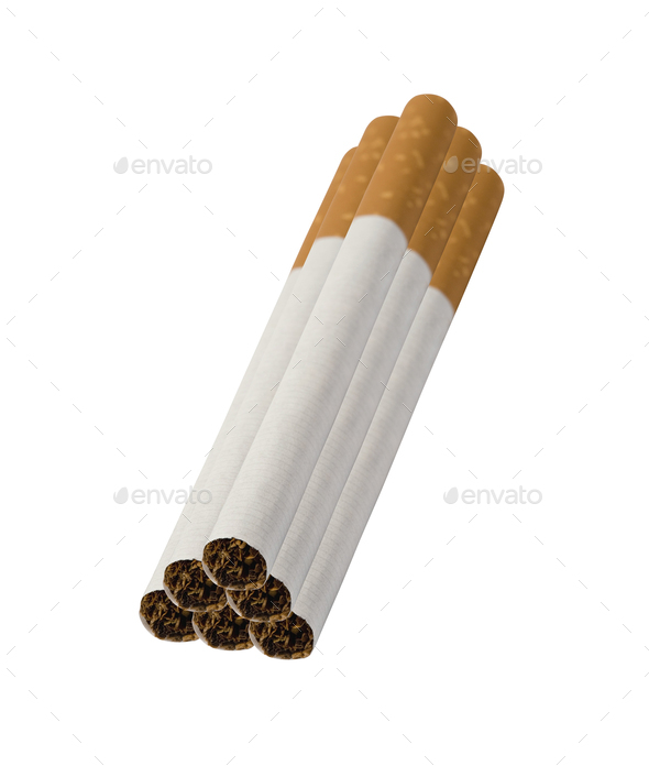 Close-up of Tobacco Cigarettes isolated - Stock Photo - Images