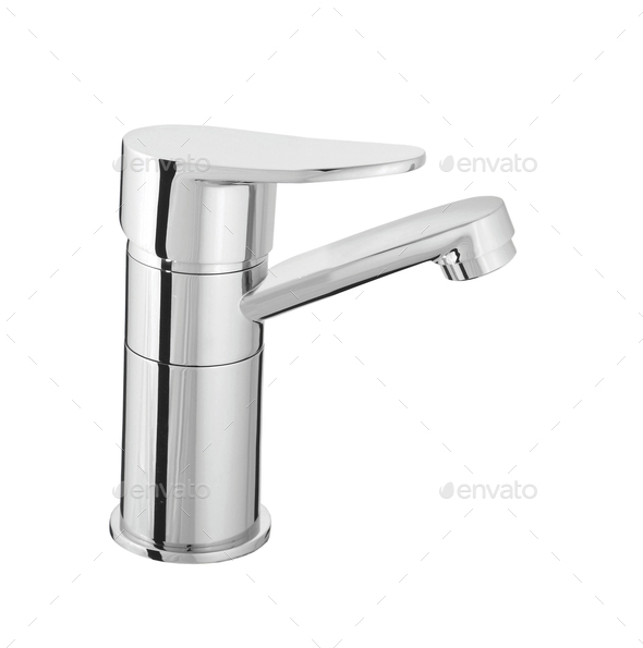 water-supply faucet mixer for water isolated - Stock Photo - Images